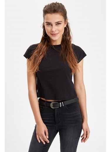 DeFacto Basic Kısa T-shirt Siyah